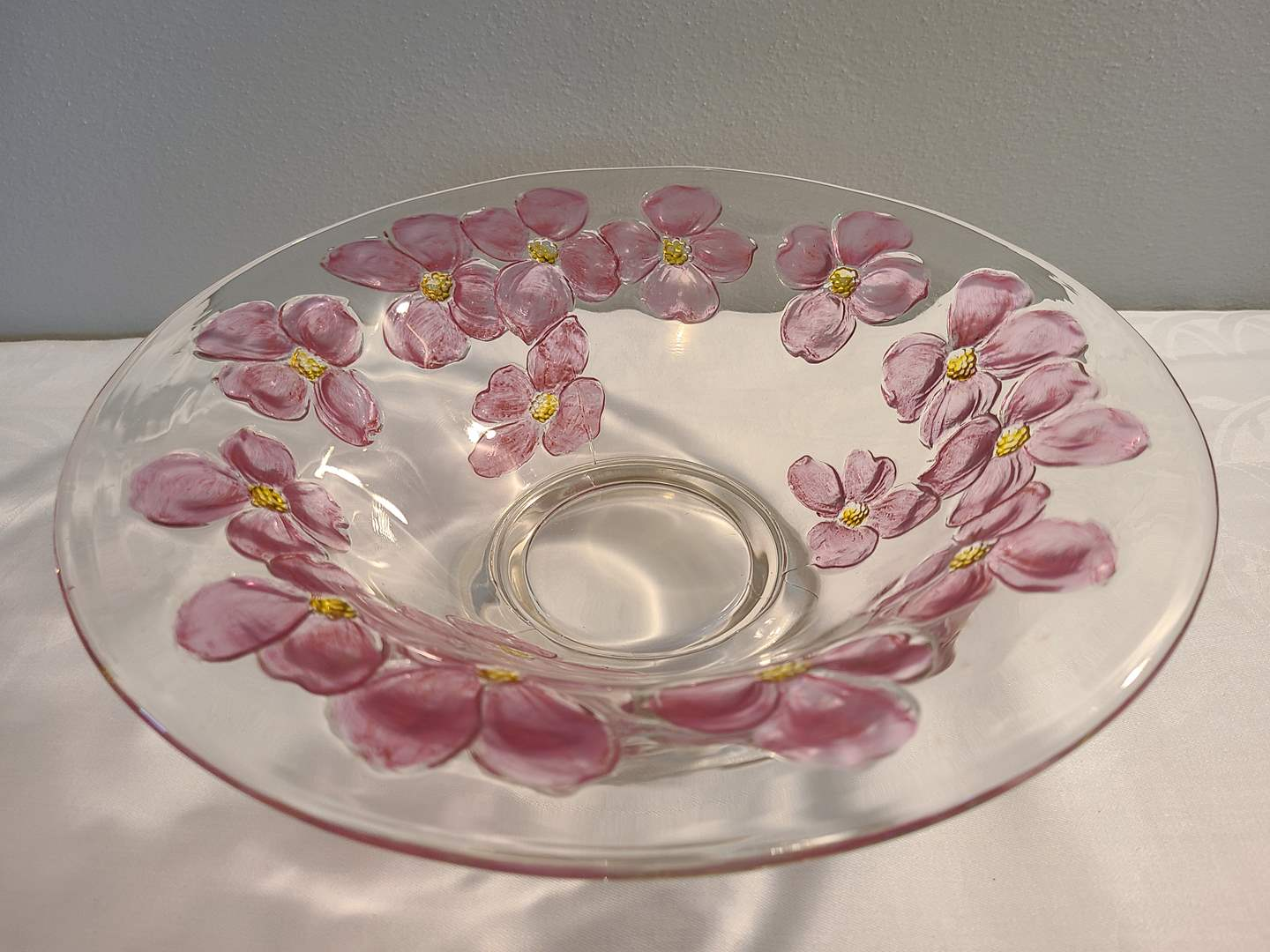 Lot# 151 - Stunning Flared Glass Bowl with Stylized Pink High Relief Flowers with Yellow Centers (main image)