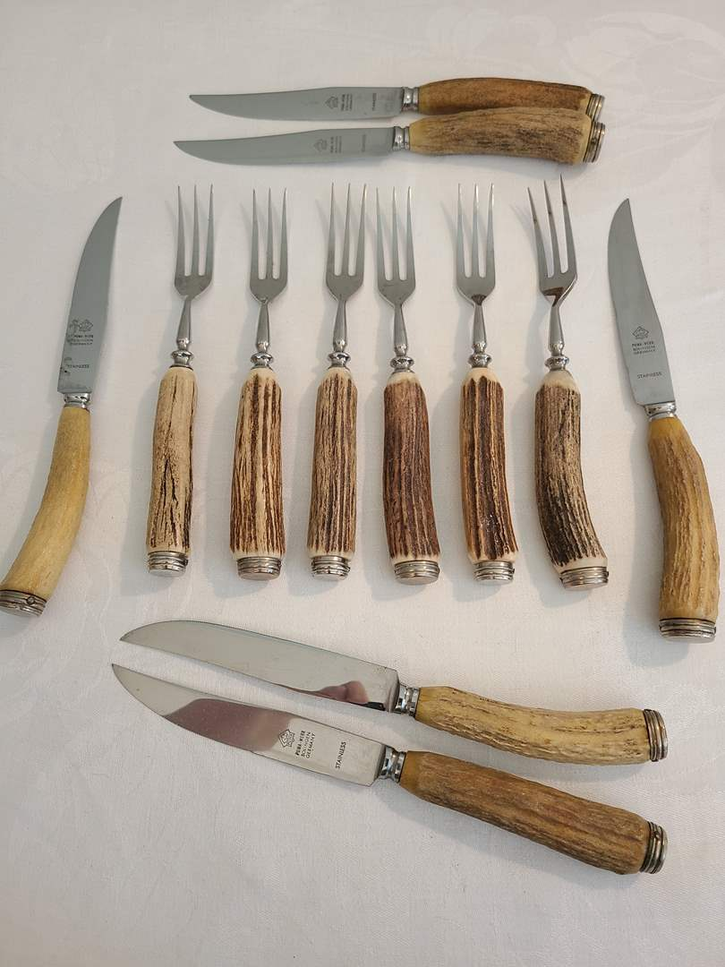 Lot# 160 - 6 Puma - Werk Solingen Germany Knives with 6 Rostfrei Forks (main image)