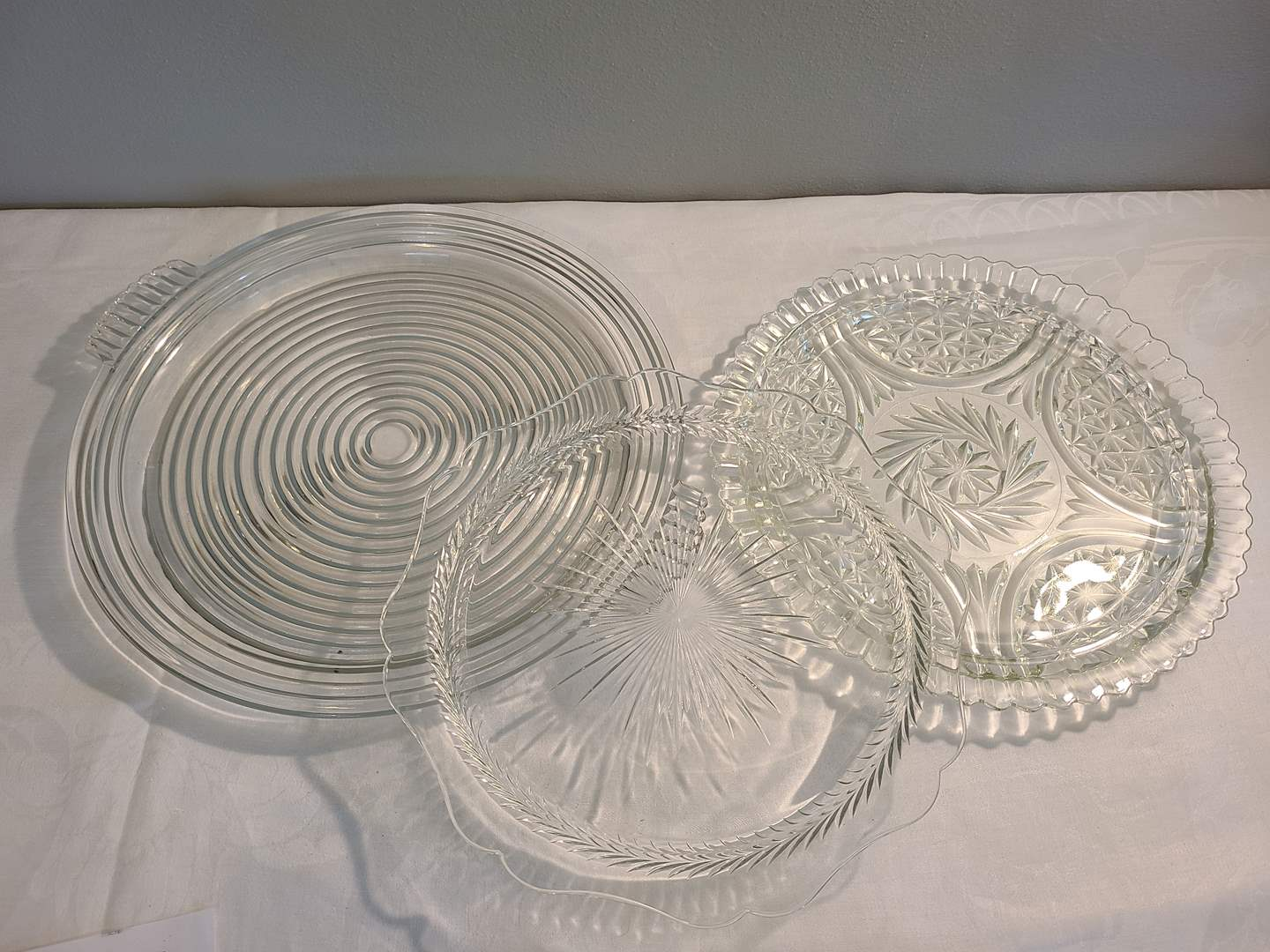 """Lot# 145 - 3 Really Nice Round Glass Platters ranging from 11.5-15"""" (main image)"""