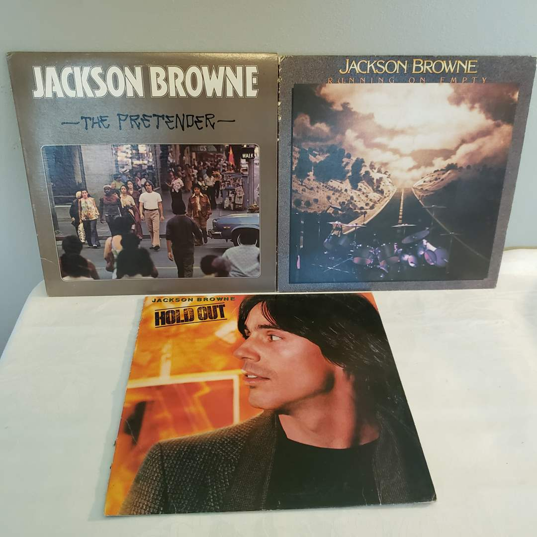 Lot# 126 - 3 Jackson Browne Records Albums LP's * Hold Out * Running on Empty * The Pretenders (main image)