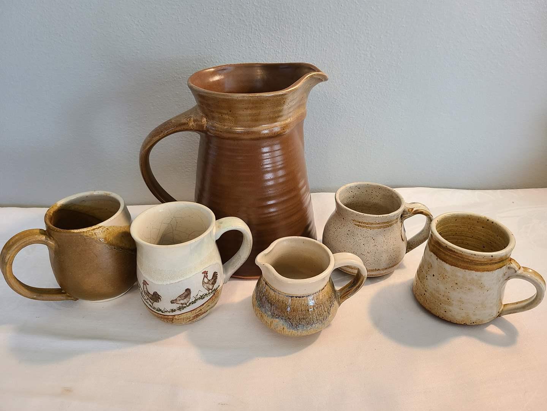 Lot# 175 - Pottery Pitcher and mugs (main image)
