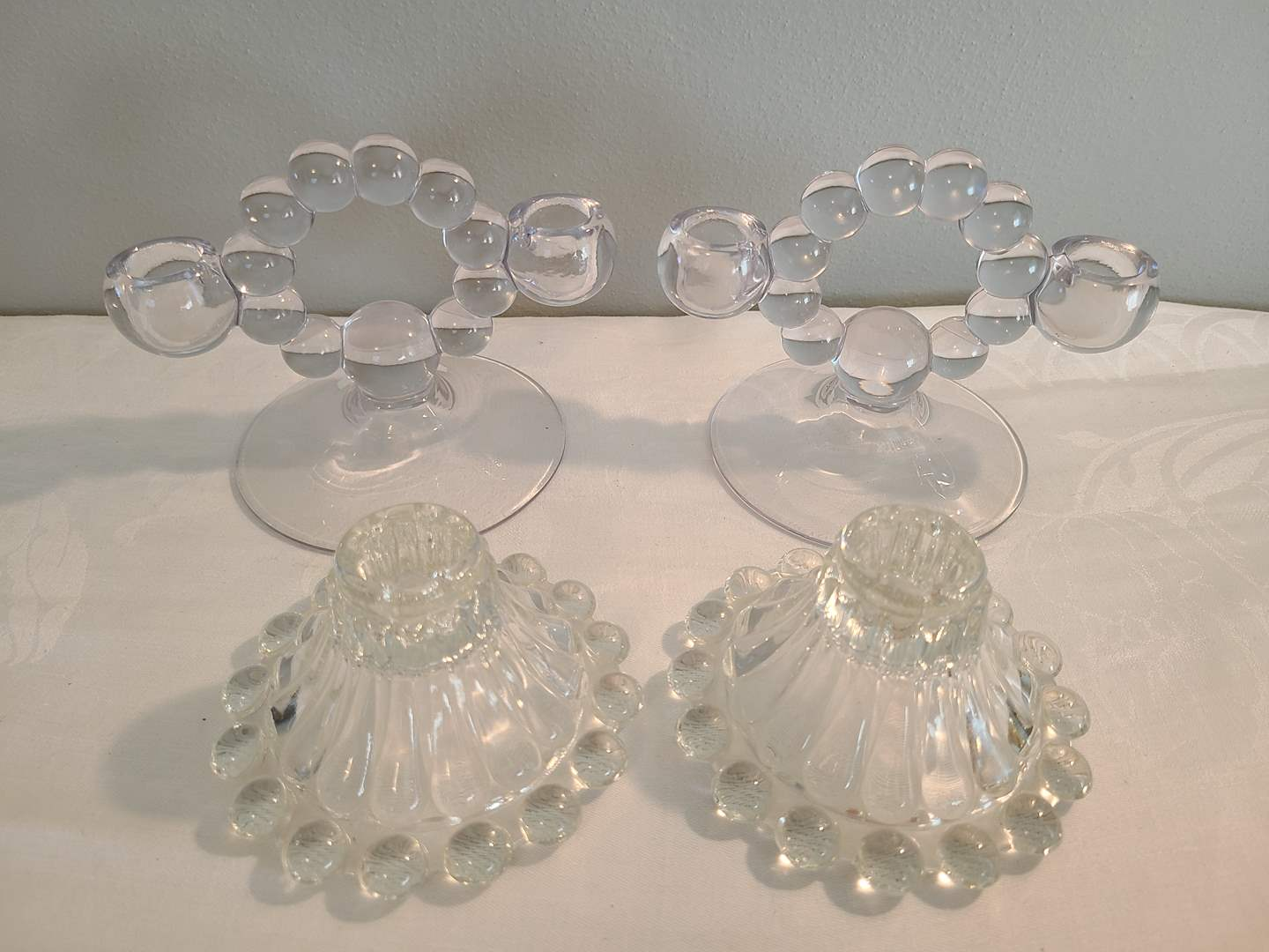 Lot# 178 - 2 Sets of Beautiful Glass / Crystal? Candle Holders (main image)