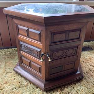 Lot #2 - Vintage Marble Top Side Table with Carved Accents and Brass Pulls, 2 Doors