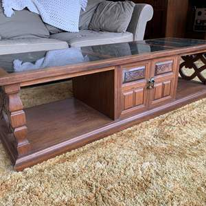 Lot #4 - Vintage Marble Top Coffee Table with Carved Details and Brass Pulls