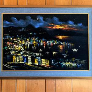 Lot #8 - Showy Signed Velvet Painting, Nicely Framed with Blue Burlap
