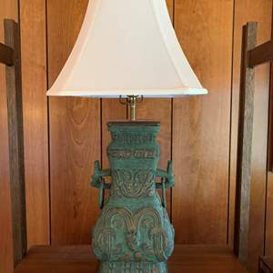 Lot #10 - Asian Bronze Table Lamp with Wood Stand