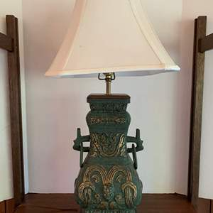 Lot #13 - Heavy Asian Brass Table Lamp with Wood Stand