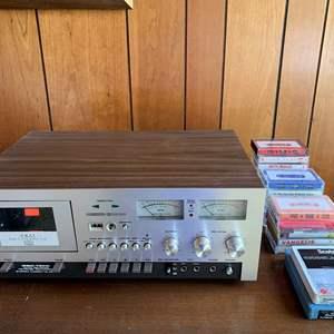 Lot #14 - Vintage Akai GXC-730D Auto Reverse Stereo Cassette Tape Deck with Various Cassette Tapes