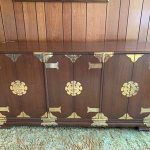 """Lot #17 - Beautiful Asian Credenza/Stereo Cabinet with Brass Detail and Hardware 64"""" x 20""""x 35"""" (Contents Not Included)"""