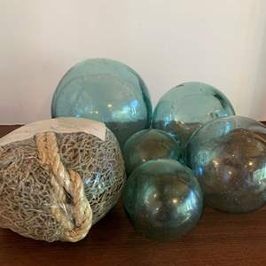 Lot #20 - Japanese Glass Floating Buoy Balls in Various Sizes with Nautical Swag Netting