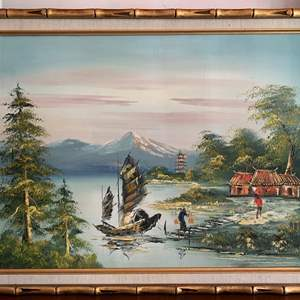 Lot #22 - Vintage Asian Scene Oil Painting with Golden Bamboo Frame