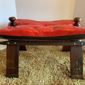 Lot #23 - Vintage Camel Saddle Stool with Red Leather and Beautiful Details