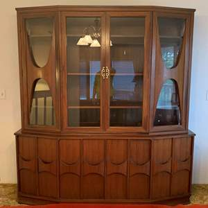 Lot #30 - Spectacular Mid Century Kent Coffey Prospecta?? China Cabinet, with Sculpted Doors