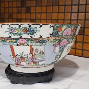 Lot #38 - Beautiful Hand Painted Chinese Theme Bowl, Signed