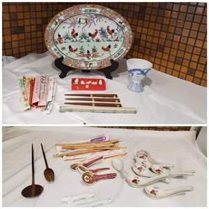 Lot #39 - Porcelain Birds, Chopsticks, Hand Painted Rooster Plate, Teak Salad Fork/Spoon, Soup Spoons