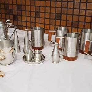 Lot #40 - Pewter: Jefferson Cups, Stein, Cream/Suger, Salt/Pepper and Mugs with Carvings