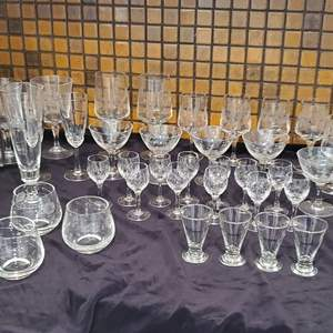 Lot #43 - 24% Lead Crystal Cordial Set and Etched Bamboo Goblets & Dessert. More in Lot #266
