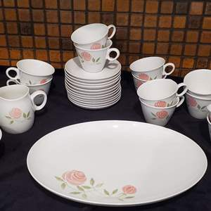 Lot #44 - Franciscan Whitestone Pick-a-Dilly Pieces: Serving Plate, 12 Cups & Saucers