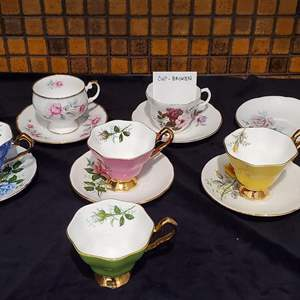 Lot #45 - English Bone China Teacups & Saucers: Royal Stafford and Rosina