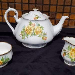 "Lot #47 - Royal Albert ""Tea Rose""Bone China Tea Pot, Cream/Sugar"