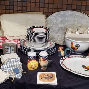 Lot #48 - Bob Timberlake Rooster Dishes, Alaska Ulu Artic Knife, Capiz Shell Place Mats, Napkin Rings and More