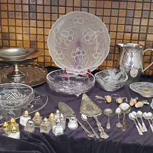 Lot #49 - Crystal/Glass Serving, Individual Salt/Pep, Spoons, Cake Plate, Wine Corks and More
