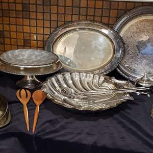 Lot #51 - Silver Plate, Swedish Stainless, Cream Sugar, Cake Plate and More