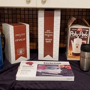 Lot #52 - Gevalia Air Pot Vacuum Bottle, Stainless Coffee, Thermal Server, German 6 Pt. Cutlery Set, Regal Poly Perk