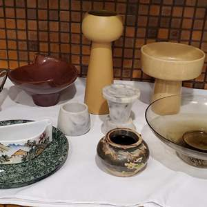 Lot #53 - Serving Bowls, Unusual Vases?, Marble Items