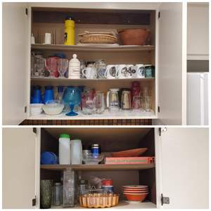 Lot #54 - Cabinet Full of Glassware, Drinking Glasses, Coffee Cups, Bowls, Trays, Paper Towel Holder and More