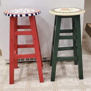 Lot #55 - Adorable Interior Accents Hand Painted Fruit Collection Wood Kitchen Stools