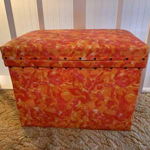 Lot #56 - Vintage Tin/Metal Lined Storage Box with Vinyl Covering