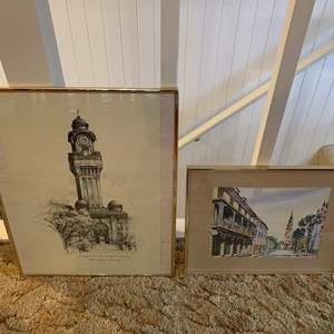 Lot #57 - Two Signed Prints: Naval Station Great Lakes, Illinois and Charleston, S.C.