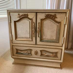Lot #63 - Marble Top Asian Bedside Table with Pull Out Writing Table