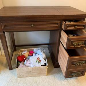 Lot #65 - Vintage Sewing Table with Three Drawers, Comes with Sewing Supplies, Sewing Machine Not Included