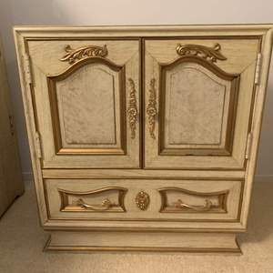 Lot #67 - Another Marble Top Asian Bedside Table with Pull Out Writing Table