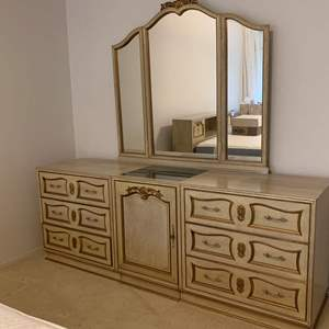 Lot #69 - Asian Dresser and Mirror with Gilded Carvings and Marble Insert on Top