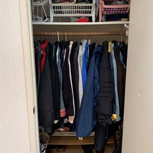 Lot #73 - Coat Closet Full of Men's and Women's Coats, Shoes, Hats, Totes and More, London Fog, Bill Blass, Sag Harbor