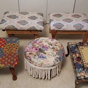 Lot #75 - Beautiful Selection of Foot Stools, Floral Patterns with Wood Legs