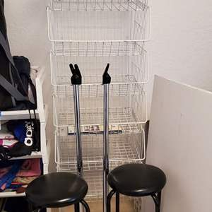 Lot #81 - The Home Store Collapsible Storage Container, Stackable Storage Racks, Two stools