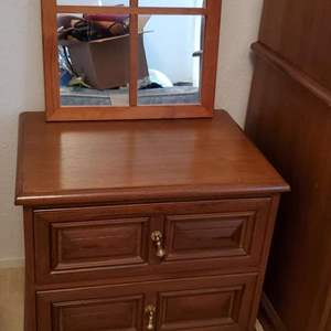 """Lot #82 - Vintage Night Stand/End Table with Brass Hardware and Cute Wood  Window Pane Mirror 16"""" x 20"""""""