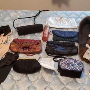 Lot #87 - Cologne, Vintage Hankies and Gloves, Evening Bags: Liz Claiborne, After Five