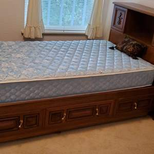 Lot #88 - Twin Platform Bed with Carved Sliding Headboard, Secret Door Both Sides