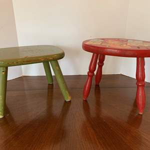 Lot #90 - Two Vintage Wood Footstools