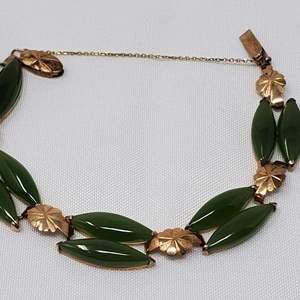 Lot #93 - 18K Gold and Jade Bracelet