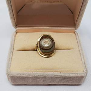Lot #95 - 18K Gold and Tiger Eye Ring, Size 6.25