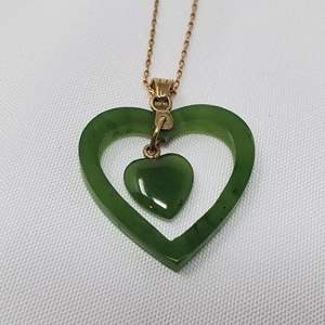 Lot #98 - 14K Gold Chain with 14K Gold and Jade Pendant