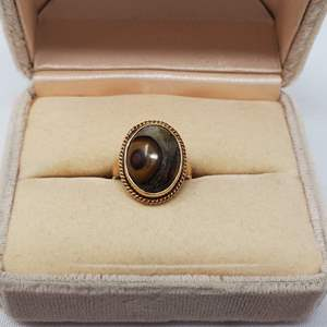 Lot #100 - 14K Gold and Tiger Eye Ring, Size 5