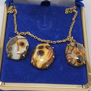Lot #109 - Unique Tiger Eye Pendant Trio Necklace