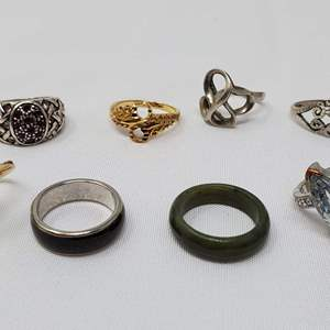 Lot #110 - Ladies Costume Rings, Various Sizes, Two are Jade Bands